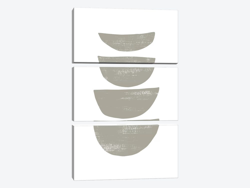 Abstraction IV Gray by Nouveau Prints 3-piece Canvas Art Print