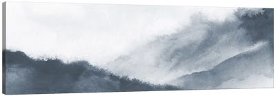Misty mountains in gray watercolor - Panoramic Canvas Art Print