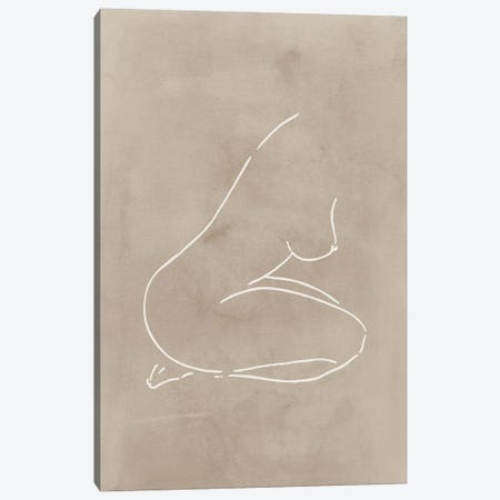 Female Body Sketch - Sepia Canvas Print #NUV240} by Nouveau Prints Canvas Art