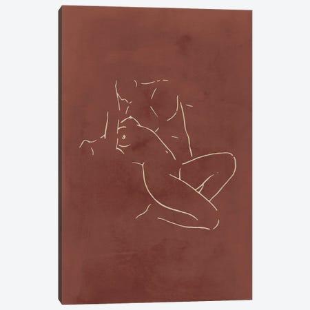 Lovers body sketch - Chocolate Canvas Print #NUV242} by Nouveau Prints Canvas Art