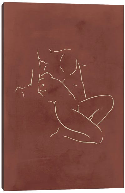 Lovers body sketch - Chocolate Canvas Art Print
