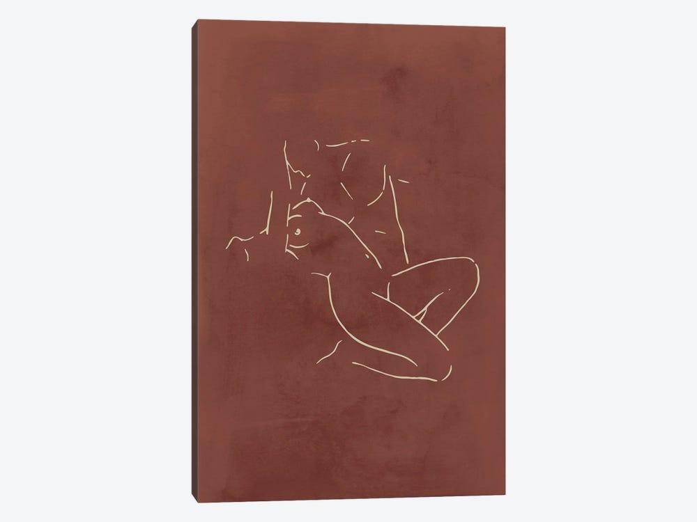 Lovers body sketch - Chocolate by Nouveau Prints 1-piece Canvas Art Print