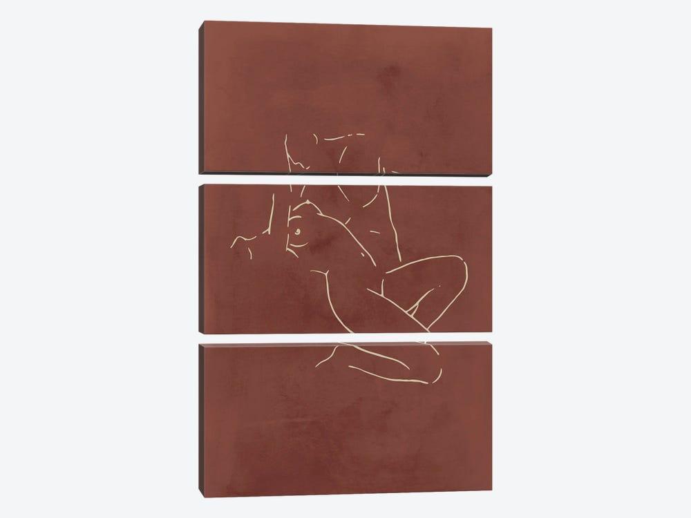 Lovers body sketch - Chocolate by Nouveau Prints 3-piece Art Print
