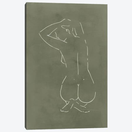 Female Body Sketch - Olive Canvas Print #NUV244} by Nouveau Prints Art Print