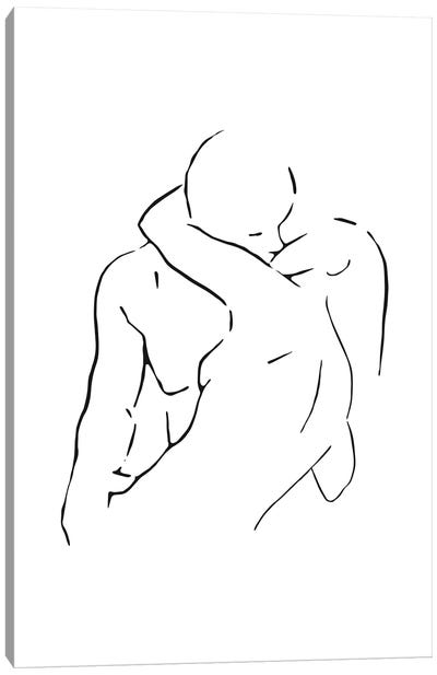 Lovers body sketch II - Black And White Canvas Art Print
