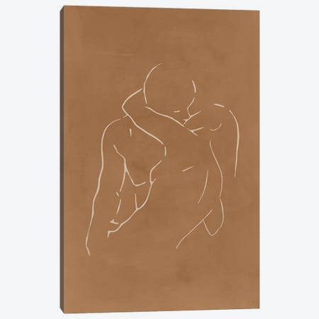 Lovers body sketch - Camel Canvas Print #NUV246} by Nouveau Prints Canvas Art Print
