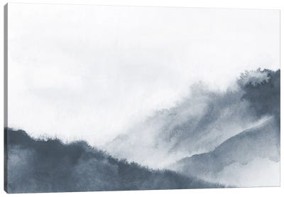 Misty Mountains In Gray Watercolor Canvas Art Print