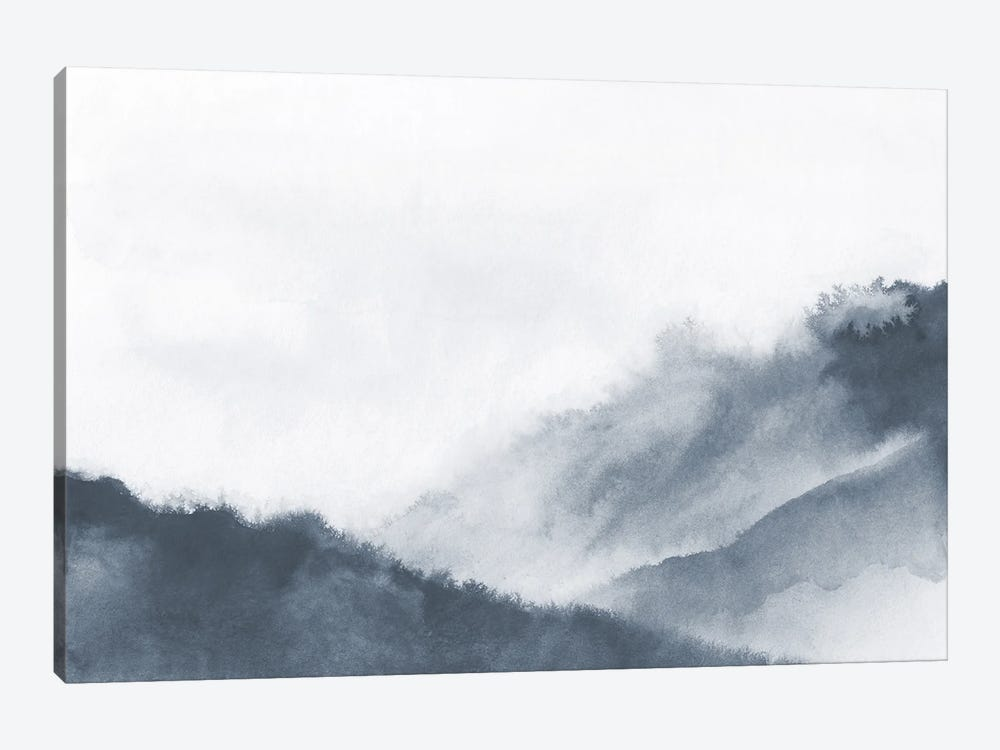 Misty Mountains In Gray Watercolor by Nouveau Prints 1-piece Canvas Artwork