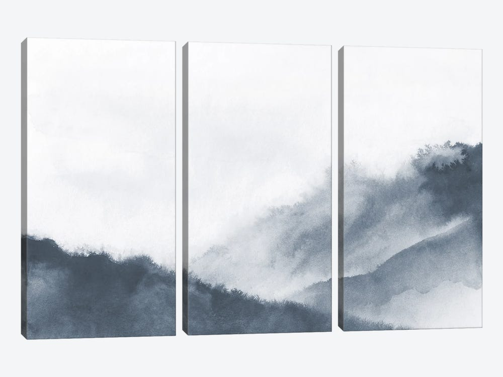 Misty Mountains In Gray Watercolor by Nouveau Prints 3-piece Canvas Art