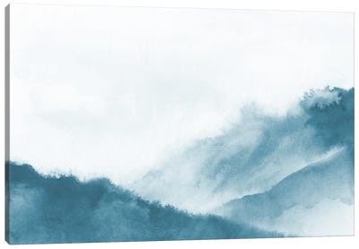 Misty Mountains In Teal Watercolor Canvas Art Print