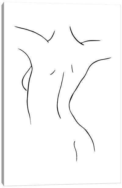 Female Body Sketch IX - Black And White Canvas Art Print