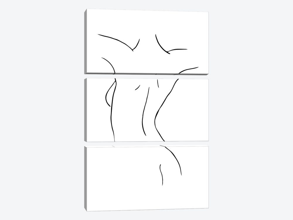 Female Body Sketch IX - Black And White by Nouveau Prints 3-piece Canvas Wall Art
