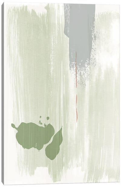 Olive green abstract painting Canvas Art Print