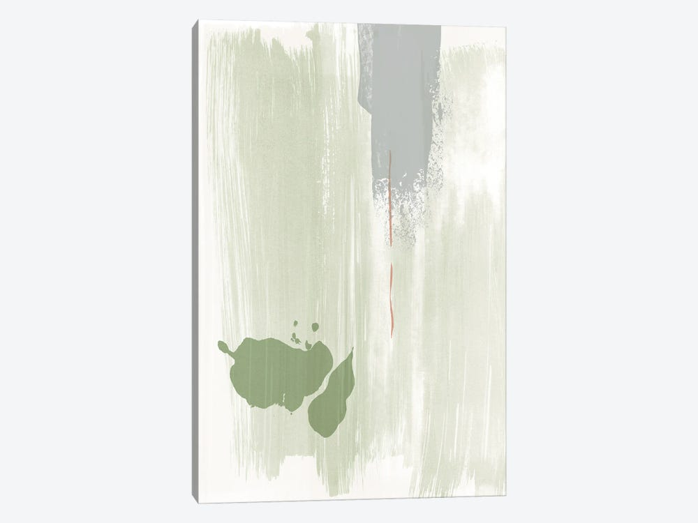 Olive green abstract painting by Nouveau Prints 1-piece Canvas Art Print