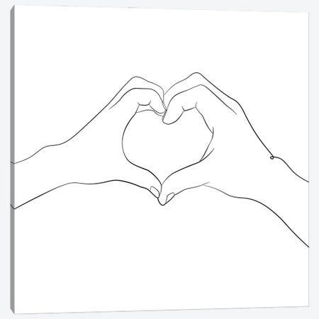 Hands - I Love You - Square Canvas Print #NUV275} by Nouveau Prints Canvas Wall Art