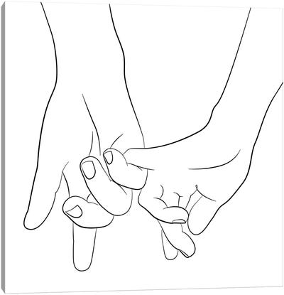 Hands - Pinky Promise - Square Canvas Art Print
