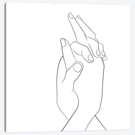 Hands - Together - Square Canvas Print #NUV278} by Nouveau Prints Canvas Art Print
