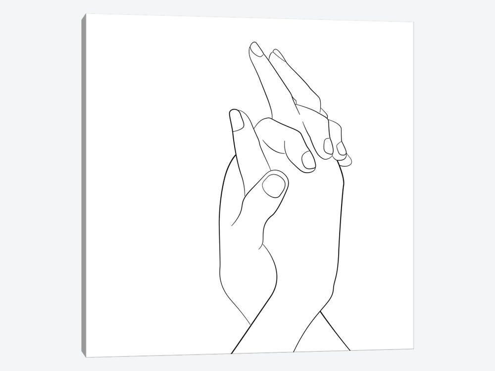Hands - Together - Square by Nouveau Prints 1-piece Canvas Artwork
