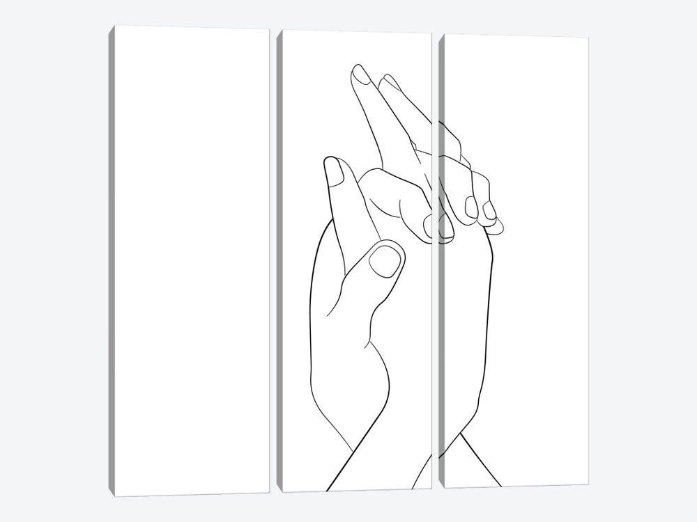 Hands - Together - Square by Nouveau Prints 3-piece Canvas Wall Art