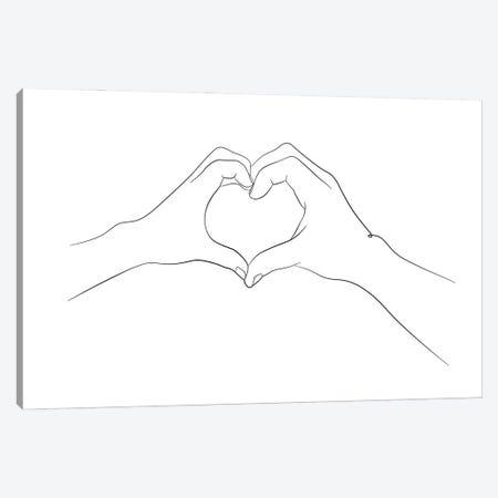 Hands - I Love You Canvas Print #NUV283} by Nouveau Prints Canvas Wall Art