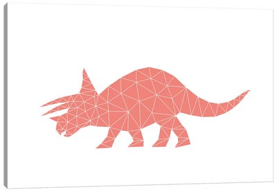 Geometric Dino Triceratops Canvas Art Print