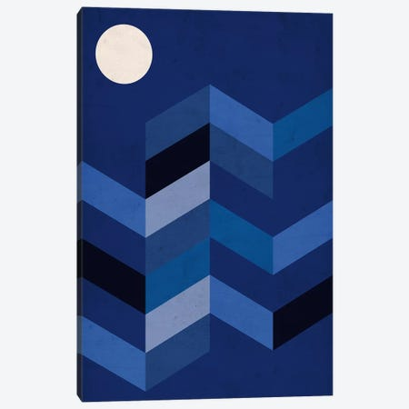 Geometric Landscape With Full Moon Canvas Print #NUV38} by Nouveau Prints Canvas Art