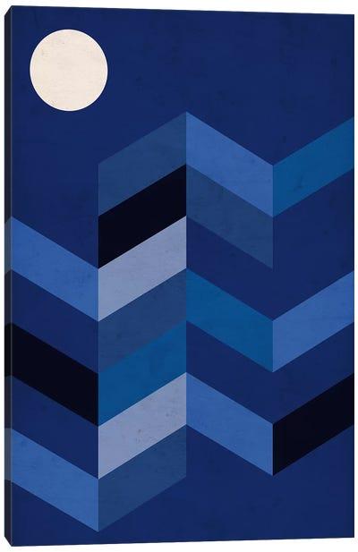 Geometric Landscape With Full Moon Canvas Art Print