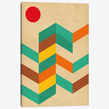 Geometric Landscape With Sun Canvas Print #NUV39} by Nouveau Prints Canvas Artwork