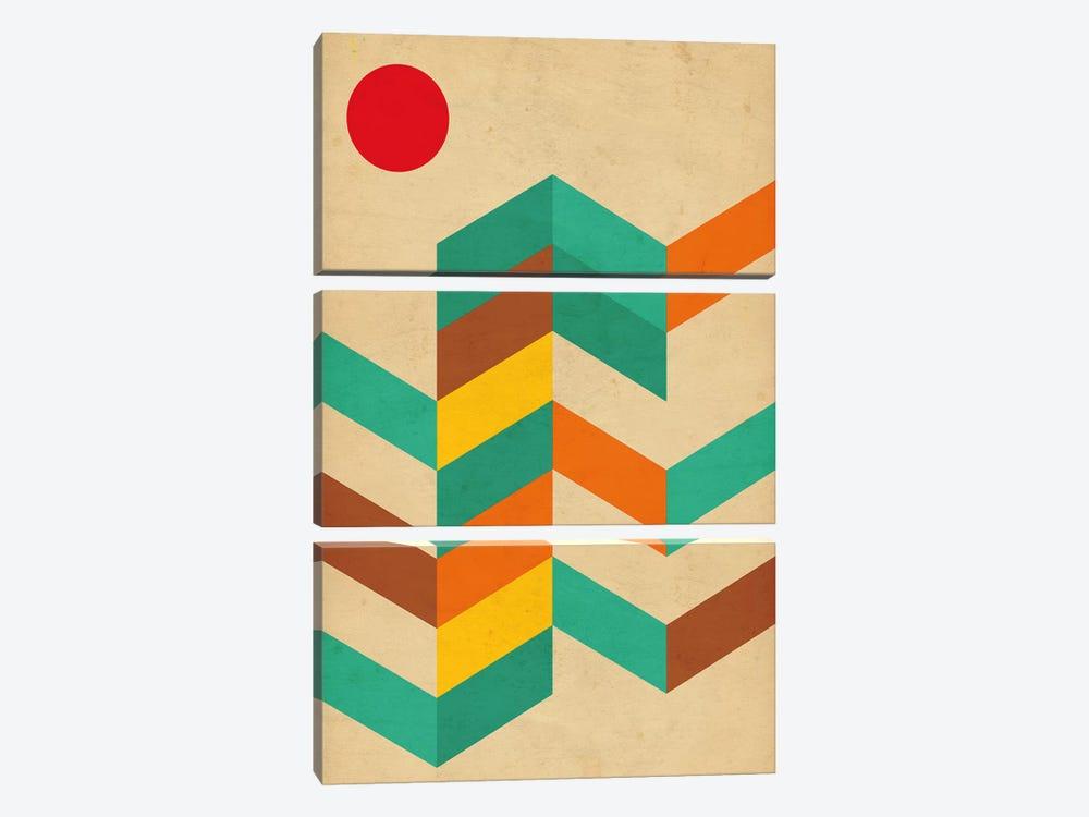 Geometric Landscape With Sun by Nouveau Prints 3-piece Canvas Artwork