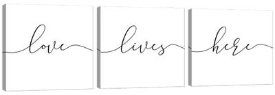 Love Lives Here Triptych Canvas Art Print