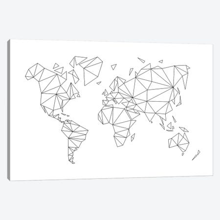 Geometric World Map Canvas Print #NUV40} by Nouveau Prints Canvas Art Print