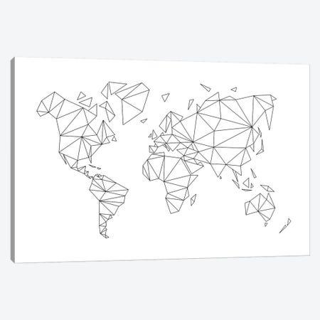 Geometric World Map Canvas Print #NUV40} by Nouveau Prints Canvas Art Print
