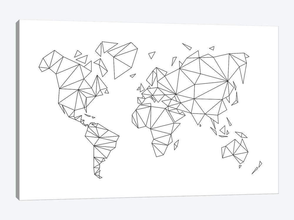 Geometric World Map by Nouveau Prints 1-piece Canvas Wall Art