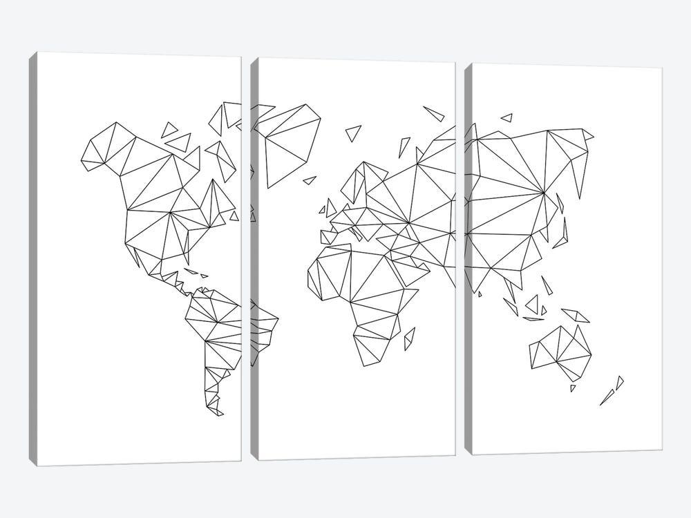 Geometric World Map by Nouveau Prints 3-piece Canvas Wall Art