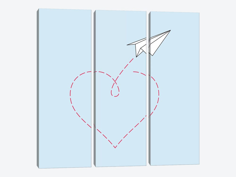 Paper Plane & Heart I - Square 3-piece Canvas Wall Art
