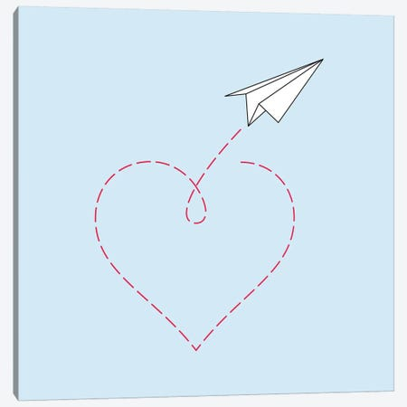Paper Plane & Heart I - Square Canvas Print #NUV57} by Nouveau Prints Canvas Print