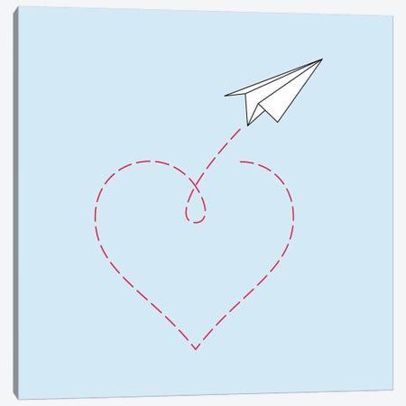 Paper Plane & Heart I - Square Canvas Print #NUV57} by Nouveau Prints Canvas Print