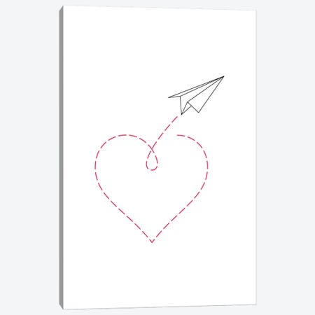 Paper Plane & Heart II Canvas Print #NUV58} by Nouveau Prints Canvas Art