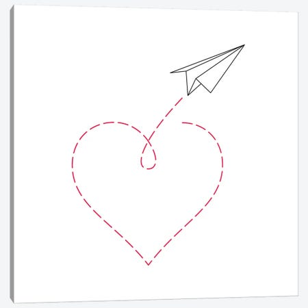 Paper Plane & Heart II - Square Canvas Print #NUV59} by Nouveau Prints Canvas Art