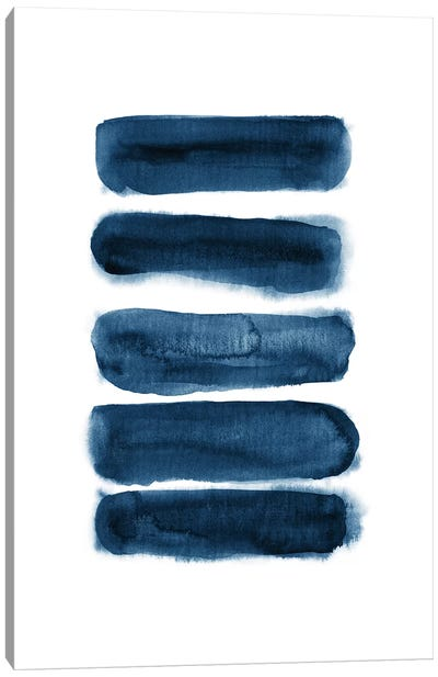 Watercolor Brush Strokes Navy Blue Canvas Art Print