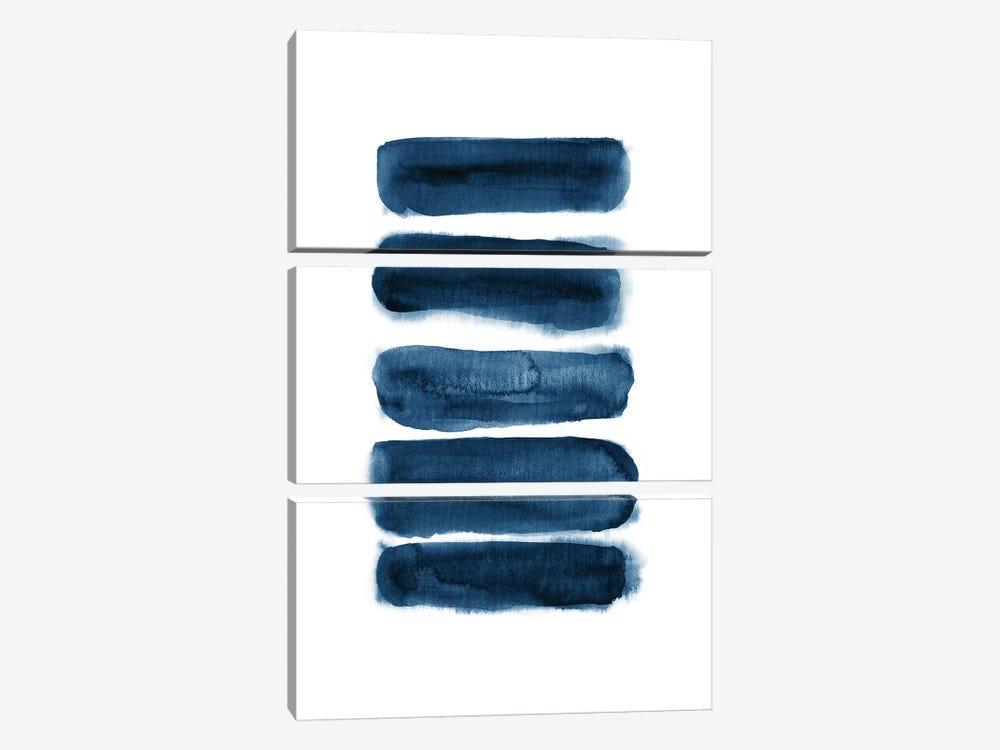 Watercolor Brush Strokes Navy Blue by Nouveau Prints 3-piece Art Print