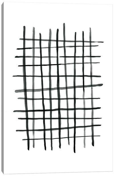 Watercolor Grid Black And White Canvas Art Print