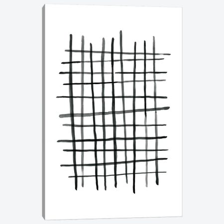 Watercolor Grid Black And White Canvas Print #NUV77} by Nouveau Prints Canvas Art Print