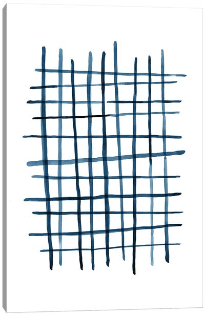 Watercolor Grid Navy Blue Canvas Art Print