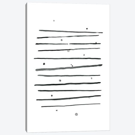 Watercolor Horizontal Lines & Dots Black Canvas Print #NUV79} by Nouveau Prints Canvas Wall Art