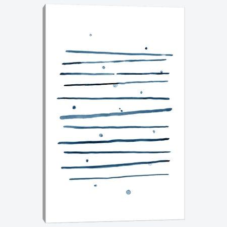 Watercolor Horizontal Lines & Dots Blue Canvas Print #NUV80} by Nouveau Prints Canvas Print
