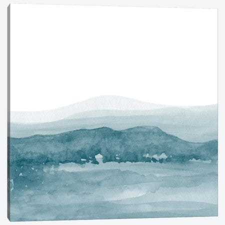 Watercolor Landscape II Teal Blue - Square Canvas Print #NUV84} by Nouveau Prints Canvas Wall Art