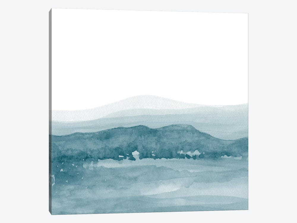 Watercolor Landscape II Teal Blue - Square 1-piece Canvas Wall Art