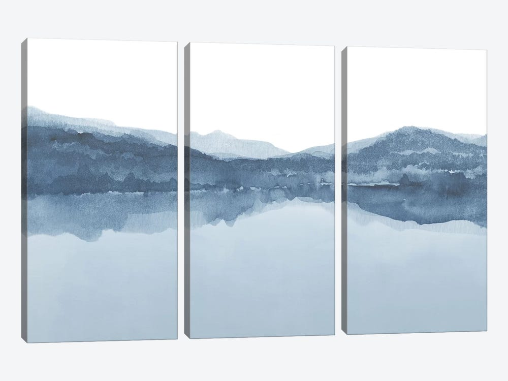 Watercolor Landscape III Shades Of Blue 3-piece Canvas Art Print