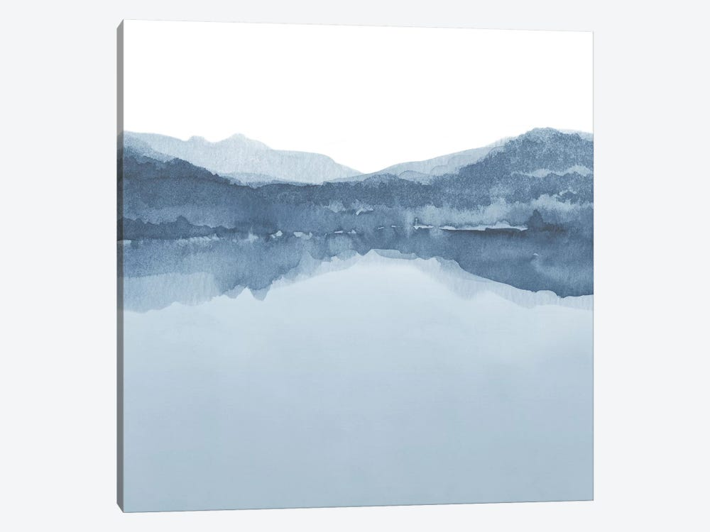 Watercolor Landscape III Shades Of Blue - Square by Nouveau Prints 1-piece Canvas Wall Art
